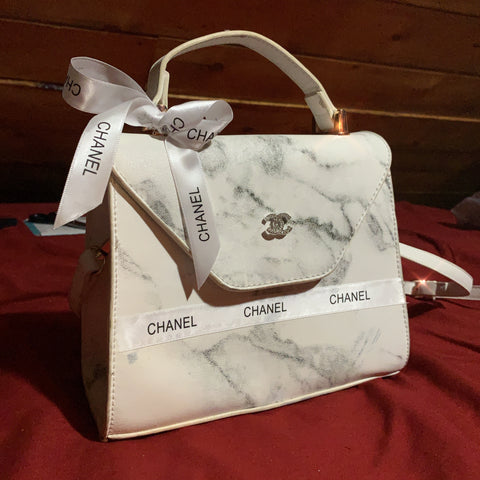 Upcycled Chanel Marble Handbag - Crossbody Handbag - Free Chanel Hair Bow included