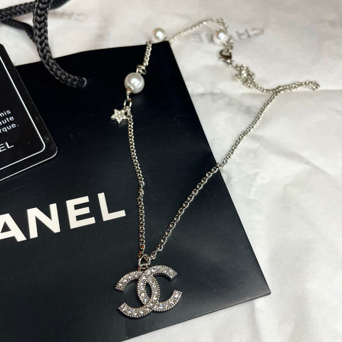SHIPS SAME DAY - CHANEL Necklace Pearl & Star - Box Bag included