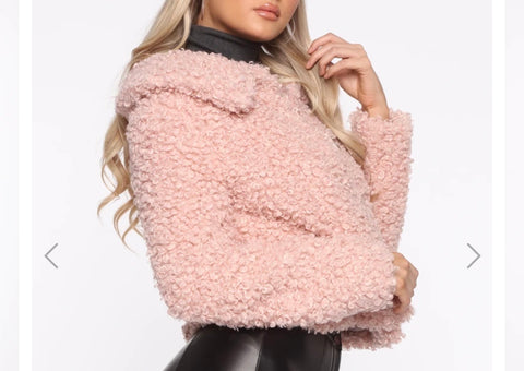 Baby Pink Faux Fur with removable Chanel Ribbon Brooch
