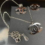 SHIPS SAME DAY - Rose Gold or Silver Double C Necklace & Earring Set