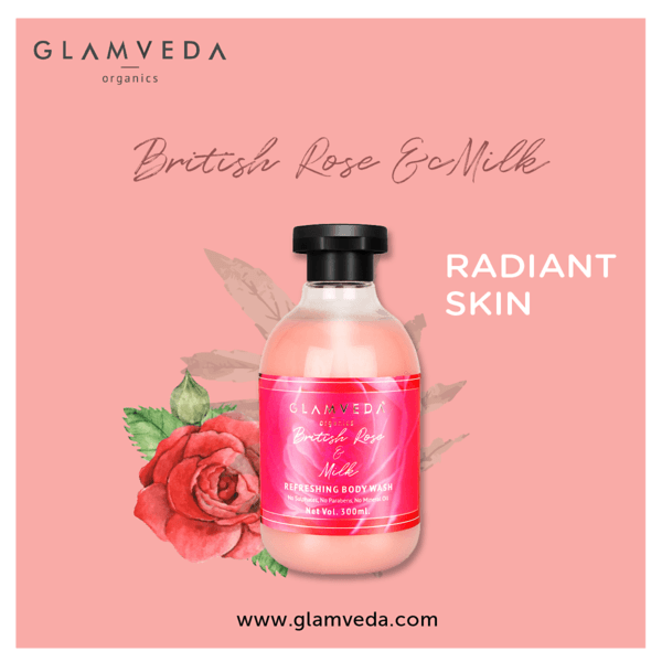 Glamveda British Rose & Milk Nourishing Body Wash & Lotion Combo Pack (300ml+300ml)