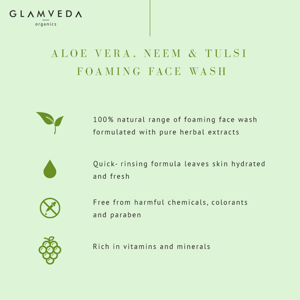 Glamveda Aloe Vera & Neem Tulsi Clarifying Foaming Face Wash 150ml