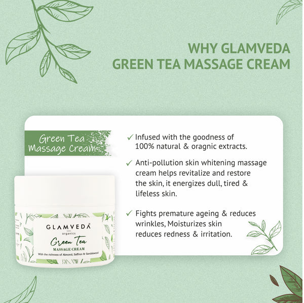 Glamveda Green Tea Recharge & Renew Massage Cream | 250 gm