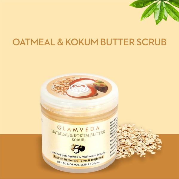 Glamveda Oatmeal & Kokum Butter Smoothing Scrub 100gm