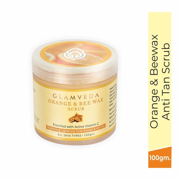 Glamveda Orange & Bee Wax Brightening Scrub 100gm