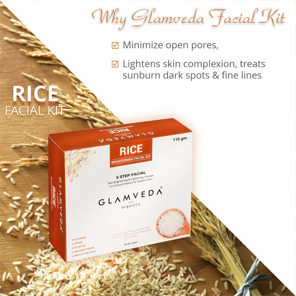 Glamveda Rice Water Brightening Facial Kit 110g| 5 Step Facial Kit|Cleanser,Scrub,Cream,Gel & Pack