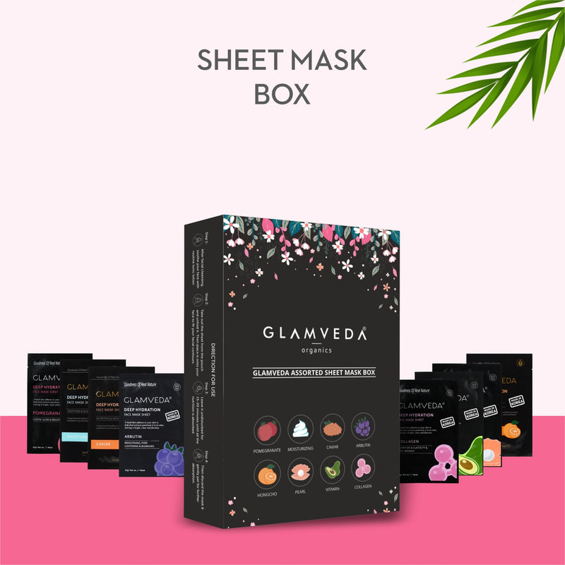 Glamveda Korean Sheet Mask-Set Of 8 Sheet Mask-Gift Box