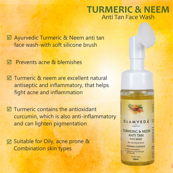 Glamveda Ayurvedic Turmeric & Neem Anti Tan Face Wash With Soft Silicone Brush- Prevents acne & blemishes - Sls & Paraben free