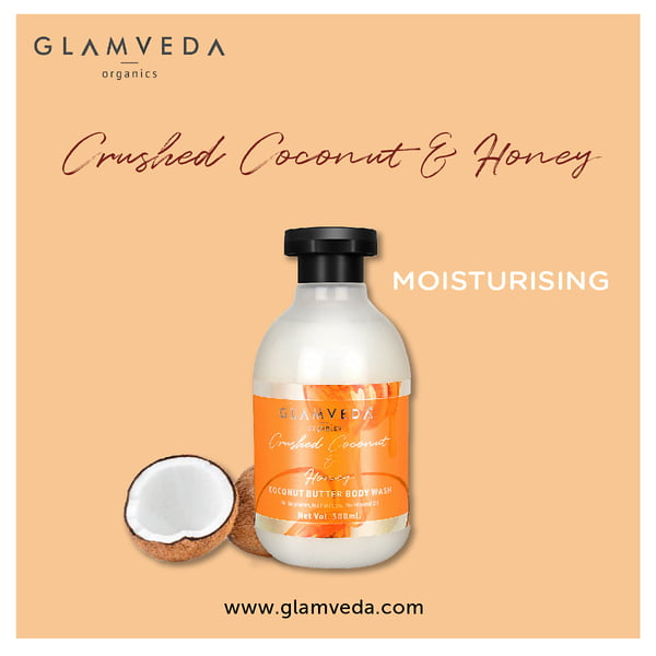 Glamveda Crushed Coconut Moisturizing Body Wash & Lotion Combo Pack (300ml+300ml)