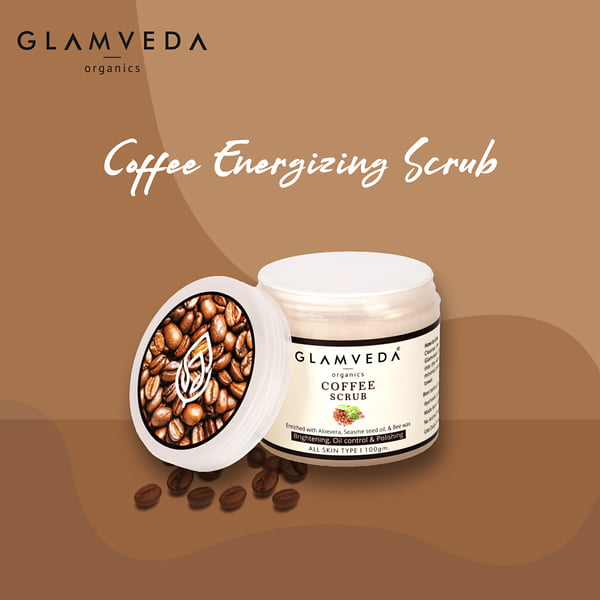 Glamveda Coffee Scrub,100g, Tan Removal & Brightening | With Aloevera Beewax & Kokum Butter| Paraben & SLS Free |Non Comedogenic & All Skin Types