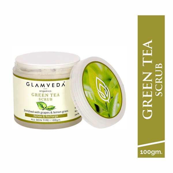 Glamveda Green Tea Scrub,110g |Brightening & Rejuvenating| Tan Removal| All Skin Types|No Parben/No SLS