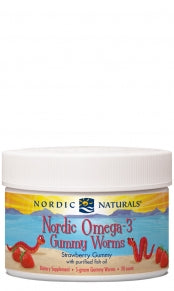 Nordic Omega 3 Gummy Worms, Straw - 30's