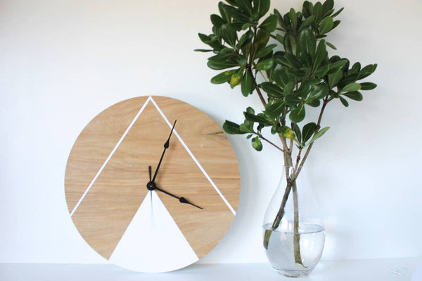 Double Wide Double Triangle Clock 10""