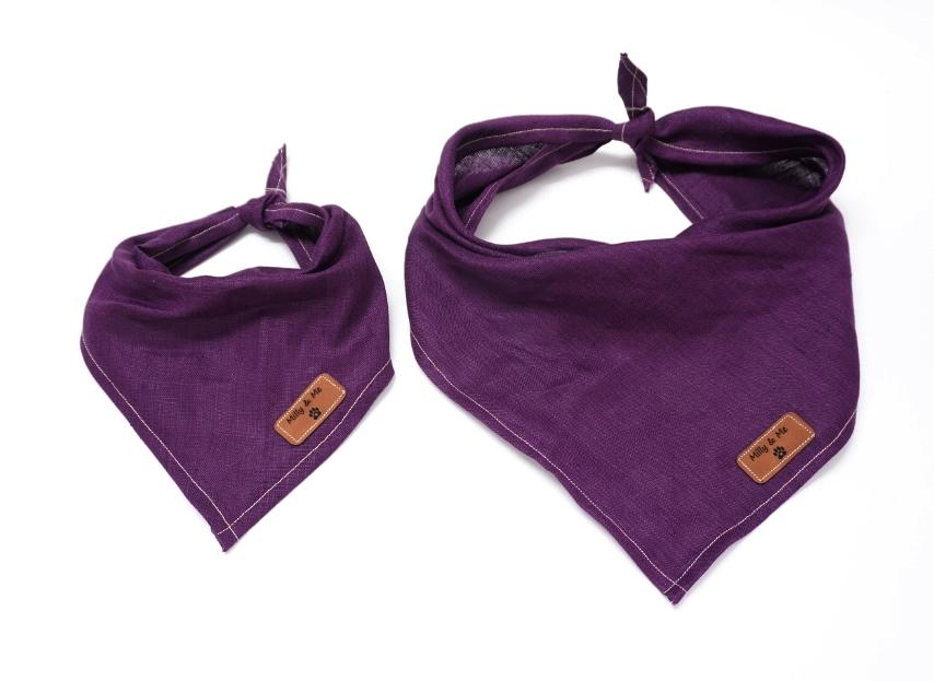 Milly and Me:  Pure Linen Bandana - Eggplant