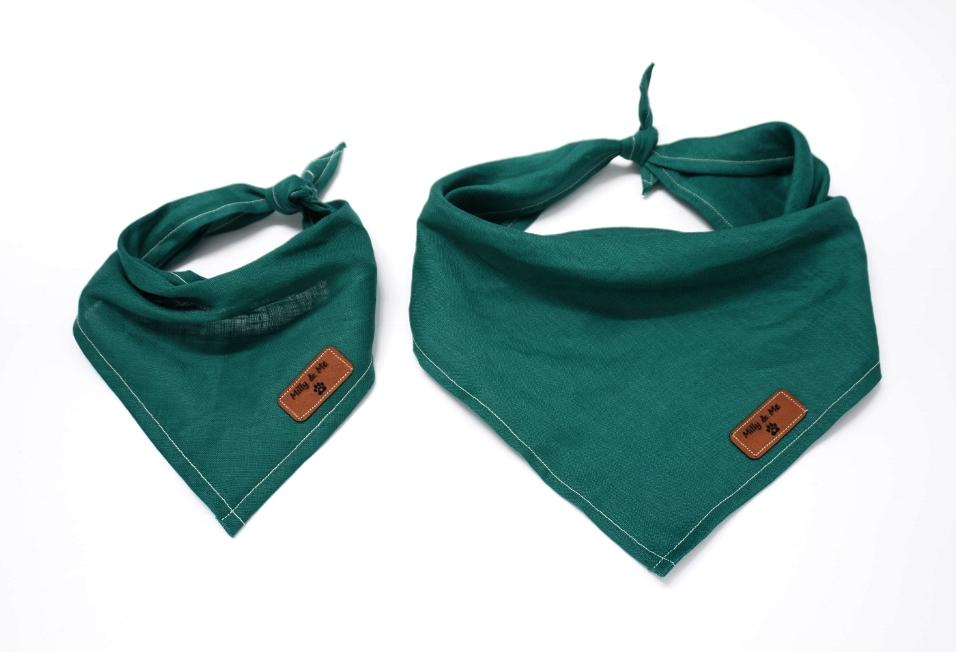 Milly and Me: Pure Linen Bandana -Evergreen