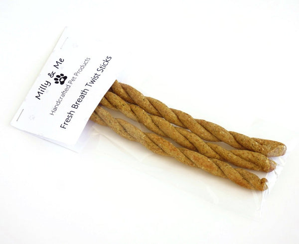 Milly and Me: Fresh Breath Twist Sticks Natural Dog Treats