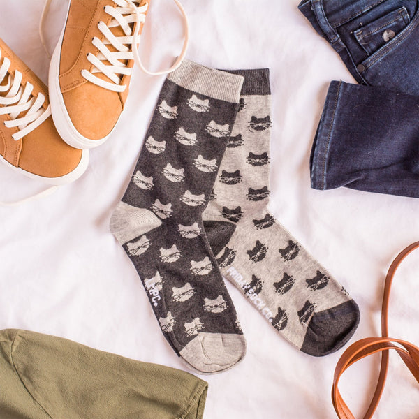 Women's Inverted Grey Cat Socks