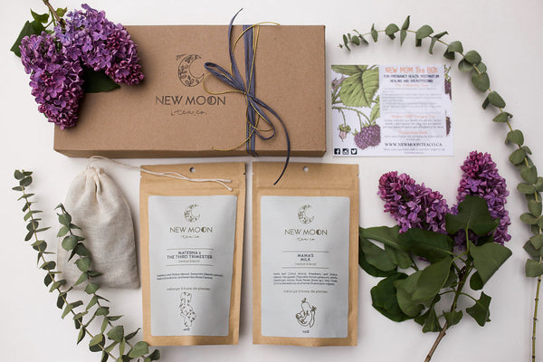 New Moon - Expecting Mom Gift Box with Third Trimester, Postpartum Tea and PP Bath Sachet