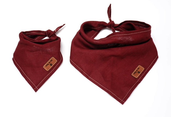 Mily and Me:  Pure Linen Bandana - Pomegranate