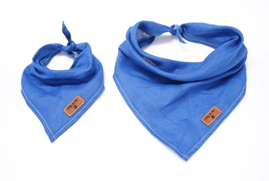 Milly and Me: Pure Linen Bandana - Sapphire Blue