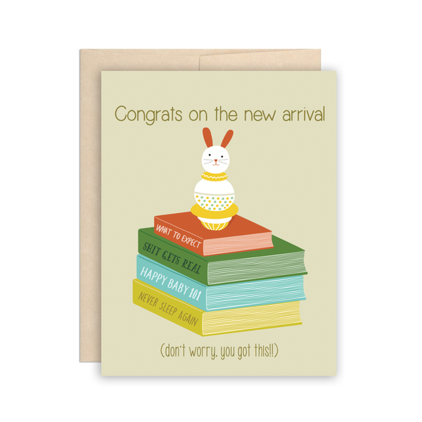 Funny & Cute New Baby New Parents Books Greeting Card