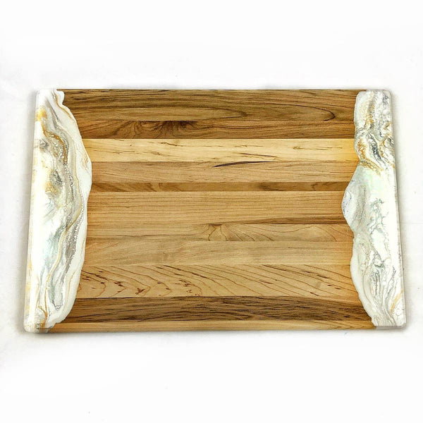 Lynn & Liana: White, Grey and Gold Resin Cheeseboard