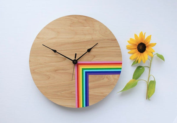"Unique Rainbow Wall Clock 10"" by 10"""
