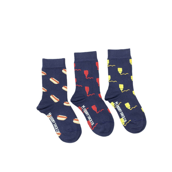 Kid's Mustard, Ketchup, & Hot Dog Socks