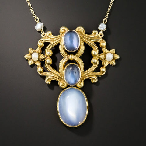 Antique moonstone necklace from the Art Nouveau period.