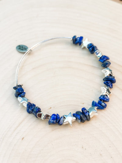 Stars in the Sky Denim Lapis Bracelet - Silver Lily Studio