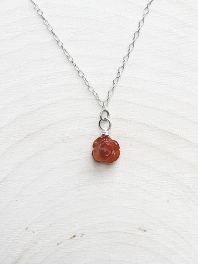 Forever Blooming Red Agate Necklace - Silver Lily Studio