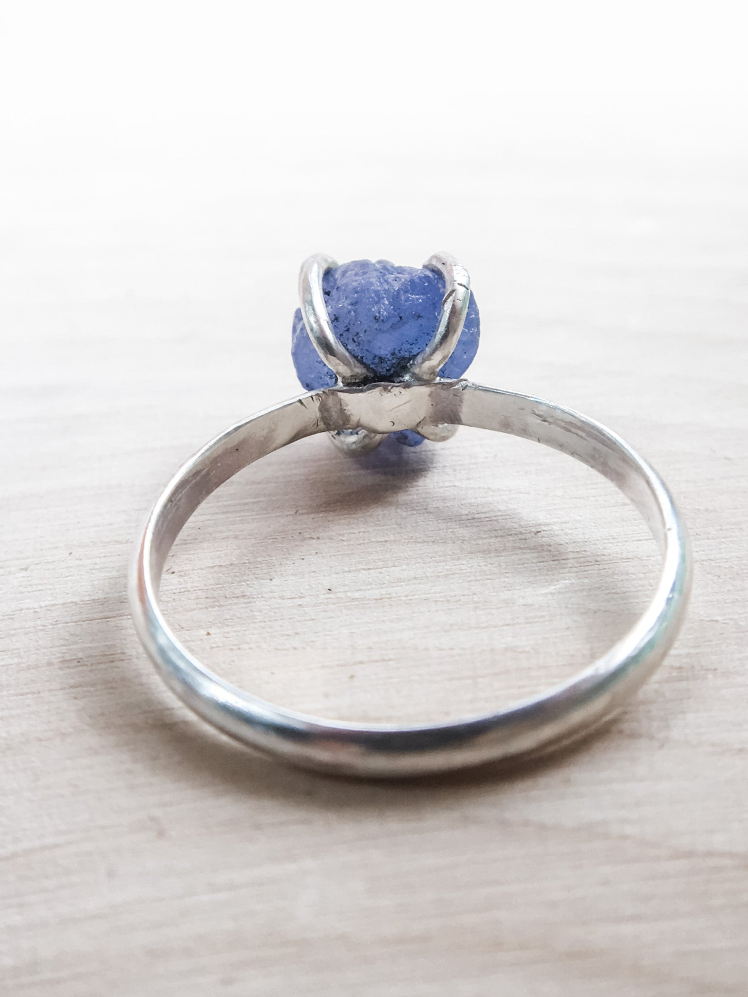 Chip of Mermaid Scale Raw Tanzanite Ring - Silver Lily Studio
