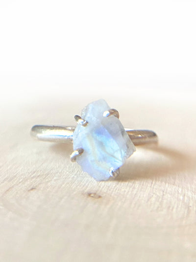 Chip of Unicorn Horn Raw Moonstone Ring - Silver Lily Studio