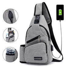 Load image into Gallery viewer, Large Capacity Chest Bag Casual Crossbody Bag Mens Travel USB Charging Anti Theft Chest Packs Sling Messenger Shoulder Bag