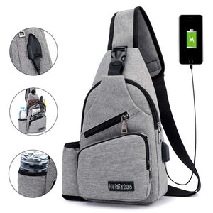 Large Capacity Chest Bag Casual Crossbody Bag Mens Travel USB Charging Anti Theft Chest Packs Sling Messenger Shoulder Bag