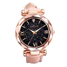 Load image into Gallery viewer, Wonderful Starry Sky Round Dial Roman Number Faux Leather Band Women Quartz Wrist Watch
