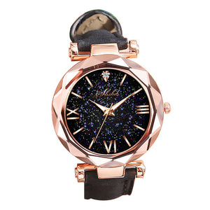 Wonderful Starry Sky Round Dial Roman Number Faux Leather Band Women Quartz Wrist Watch