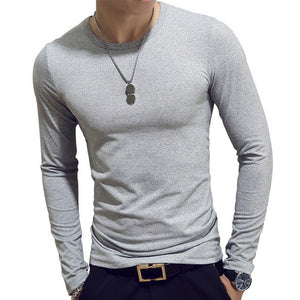 2020 Spring Men T-Shirts Long Sleeve O-Neck Casual tshirts Fitness Jogging Solid Fashion Tee Basic Running Homme Top Clothing