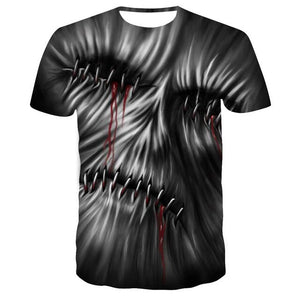 Skull Tshirt Men Card T-shirt Punk Rock Clothes White Ink 3d Print T Shirt Funny Anime Mens Clothing New Casual Summer Tops