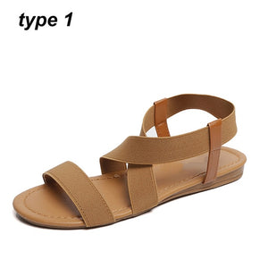 zapatos de mujer shoes Women sandals Ladies fashion casual Flat sandals shoes solid colour Summer comfortable sandals flat shoes