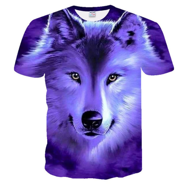 3D Wolf Print Cool T-shirt Men Women Fashion Tees 3d Hip Hop Tshirt Print Animal Short Sleeve Summer Top Male T shirt Clothing