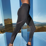Women's Mesh Black Tech-Panel Leggings Full-Length - seed