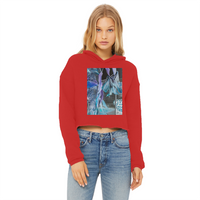 Opal Iris Ladies Cropped Raw Edge Hoodie - seed
