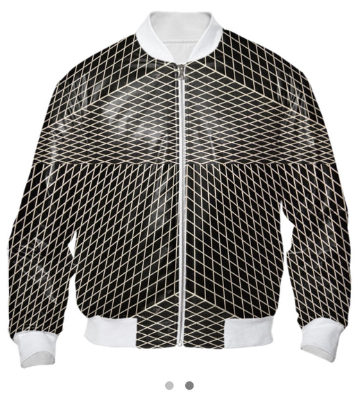 All Over Print B&W Bomber Jacket | Grid X Unisex - seed