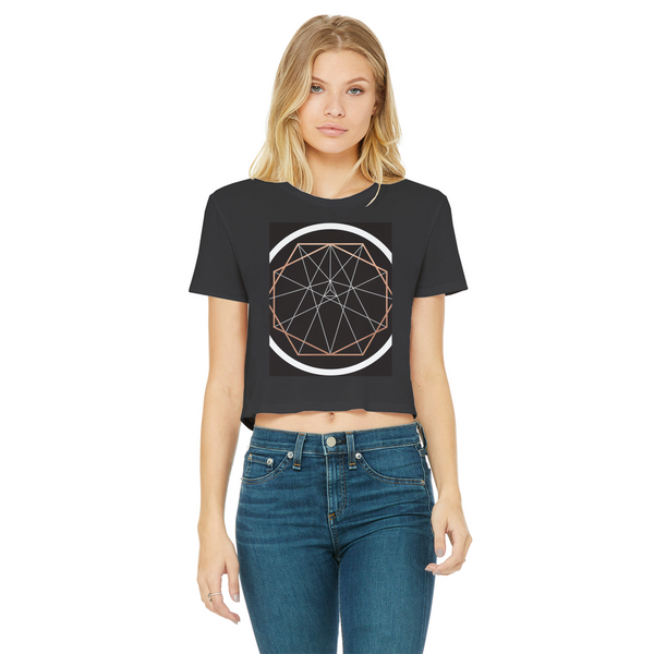 Sacred Geometry Series Classic Women's Cropped Raw Edge T-Shirt - seed