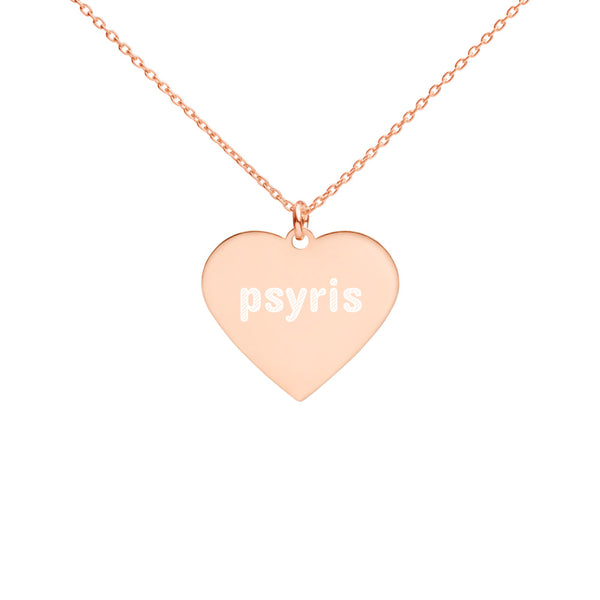 Psyris Engraved Silver Heart Necklace - seed