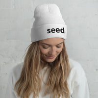 Seed Series Cuffed Beanie Unisex in White | Hypoallergenic - seed