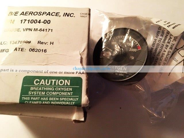 171004-00 gauge oxygen Beechcraft NEW