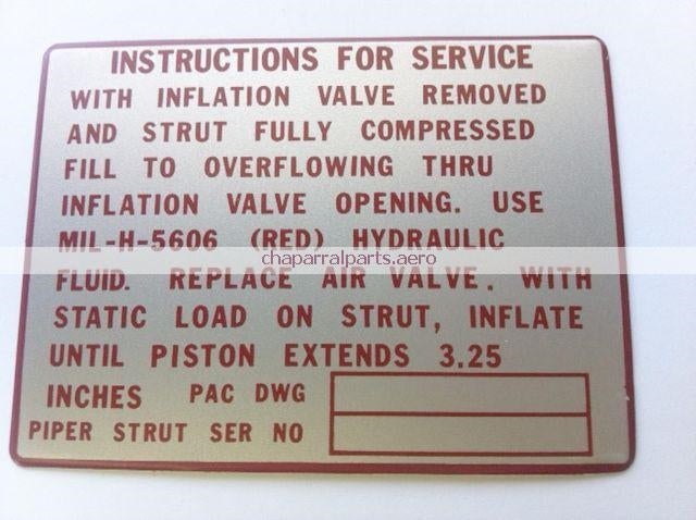 40292-02 placard Piper Aircraft NEW