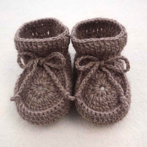 Booties Possum Merino Crocheted - Natural Brown